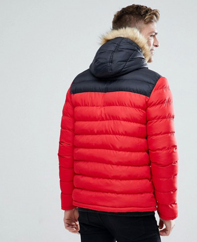 Colour Block High Made Of About Apparels Puffer Jacket In Red