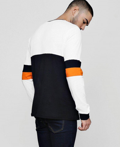 Colour Block Long Sleeve T Shirt With Stripe