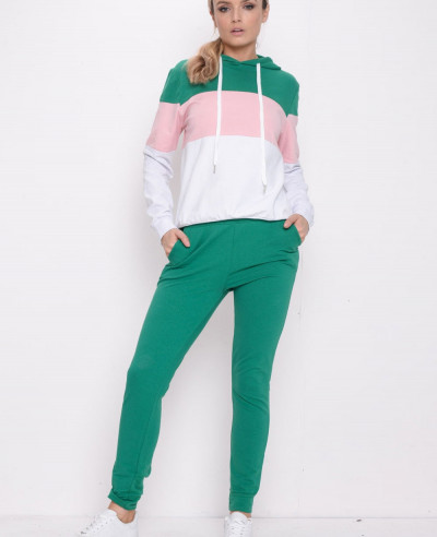 Colour-Block-Stripe-Hooded-Loungewear-Set-Green