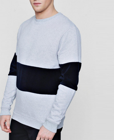 Colour Block Velour Panel Sweater
