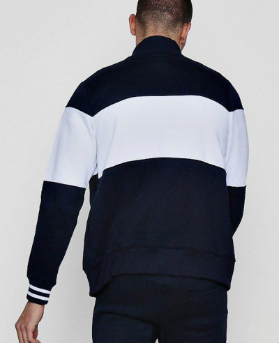 Colour Block Zipper Through Track Top Sweatshirt