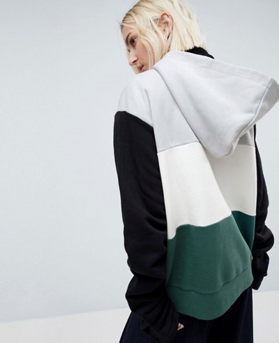 Colourblock-Sweat-Top-With-Ruched-Sleeves-Hoodie