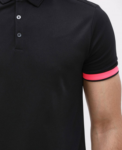 Contrast Sleeve Rib Polo T Shirt