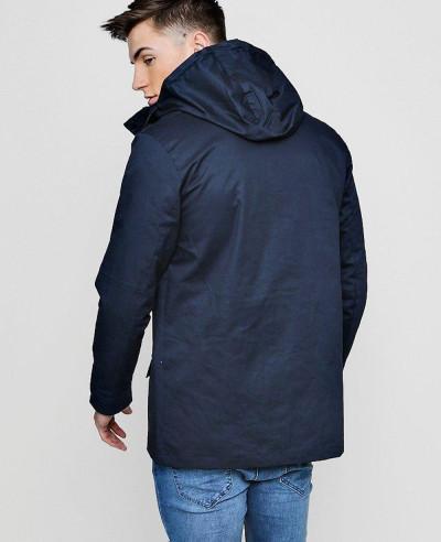 Contrast Zipper Cotton Parka Windbreaker Jacket