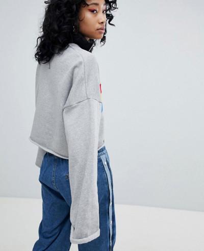 Crop Sweat With Half Zipper Sweatshirt