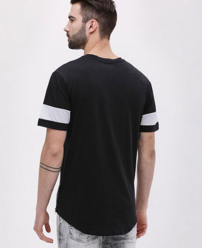 Curve Hem Longline Embroidered T Shirt