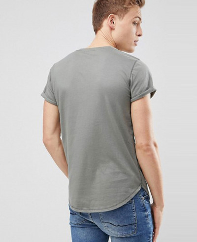 Curved Hem Crew Neck T Shirt Seagull Logo in Olive