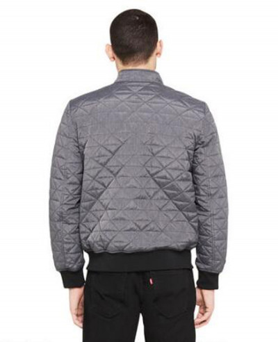 Famous Maker Quilted Rib Knit Trim Bomber