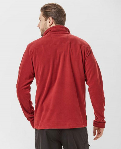 Fashionable Red Half Zipper Fleece Jacket