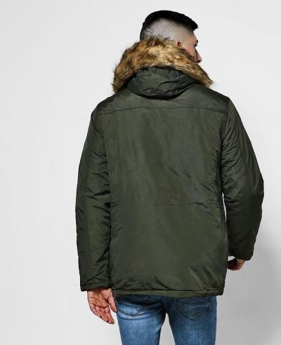 Faux Fur Hood Trim Parka Windbreaker Jacket