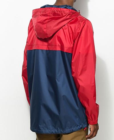 Full Zipper High Custom Made Navy & Red Windbreaker Jacket