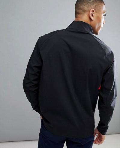 Full Zipper Overhead Lightweight Windbreaker Jacket In Black