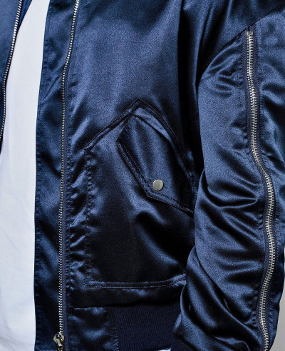 Full Zipper Though Knitted Varsity Bomber Jacket