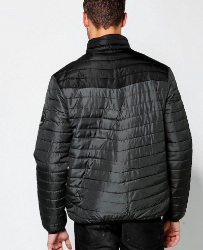 Funnel Neck Colour Block Puffer Padded Quilted Jacket