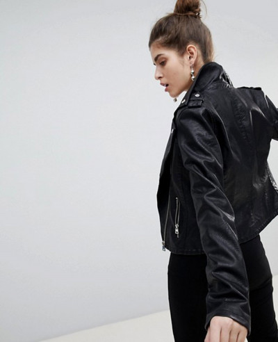 Grain Leather Biker Jacket
