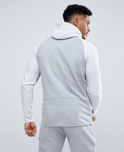 Gym Muscle Hoodie In Grey Marl With Contrast Panel