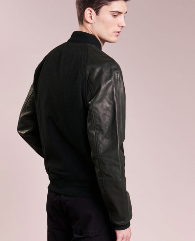 High Custom Made Varsity Bomber With Real Leather Sleeves Bomber Varsity Jacket