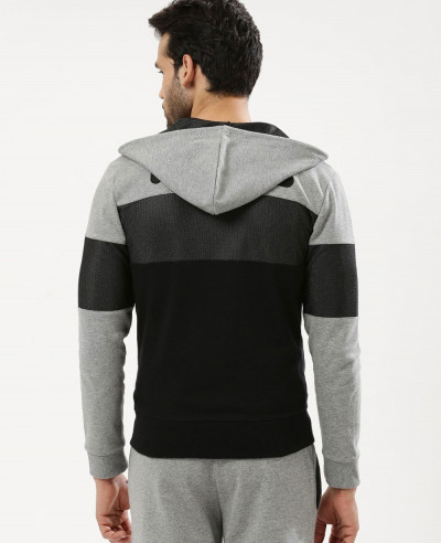High Quality Men Colour Block Mesh Hoodie