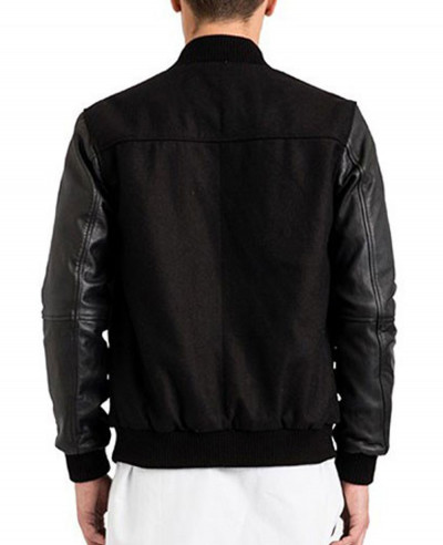 High Quality Men Custom Leather Sleeve College Varsity Jacket