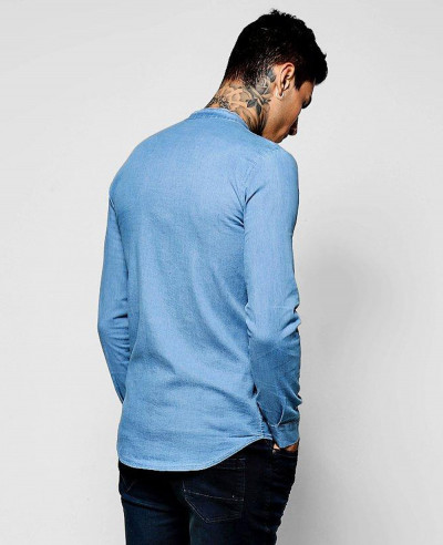 High Quality Men Denim Chambray Shirt with Grandad Collar