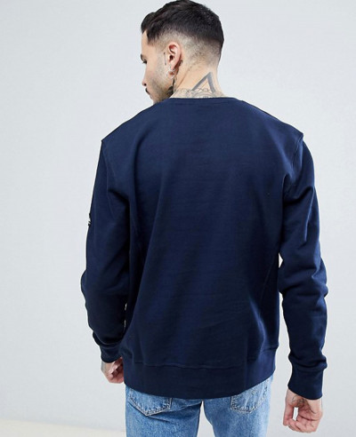 High Quality Men Handmade Crew Neck Sweatshirt in Navy