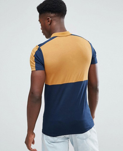 High Quality Men Muscle Polo Shirt With Colour Block And Zipper Neck