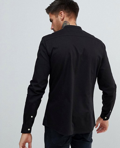 High Quality Men Stretch Slim Denim Shirt With Grandad Collar In Black