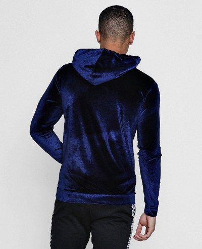 High Quality Men Velour Hoodie in Muscle Fit