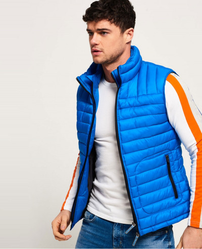 Hot Selling Men Custom Padded Puffer Double Zipper Vest Gilt