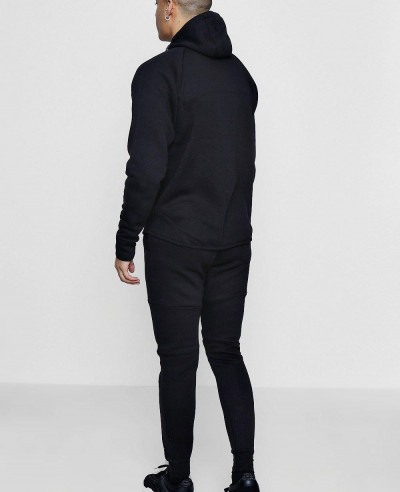 Hot Selling Black Men Skinny Fit Sport Hooded Tracksuit