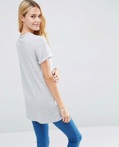 Hot-Selling-Fashion-Longline-Grey-T-Shirt