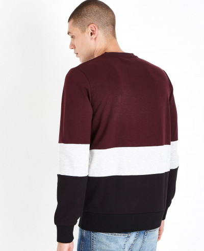 Hot Selling Men Burgundy Colour Block Sweatshirt