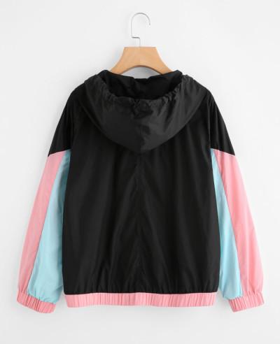 Hot Selling Men Colour Block Hooded Windbreaker Jacket