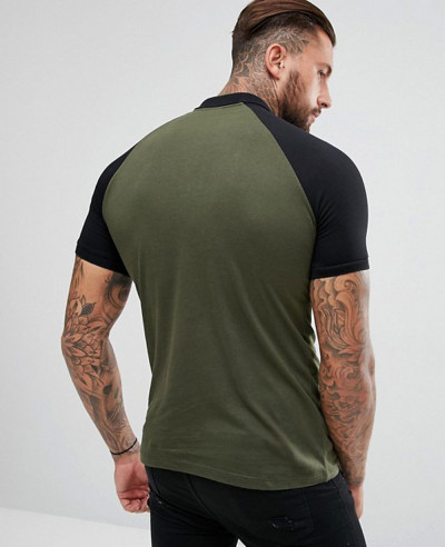 Hot Selling Men Contrast Raglan In Green Polo Shirts
