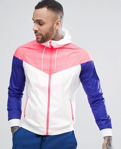 Hot Selling Men Custom Stylish Windrunner Jacket In Orange