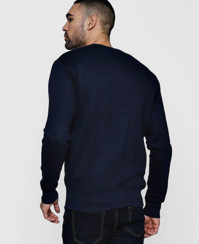 Hot Selling Men Navy Blue Jersey Bomber Fleece Sweatshirt