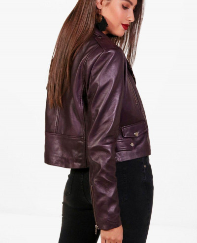 Hot Selling Women Crop Leather Jacket