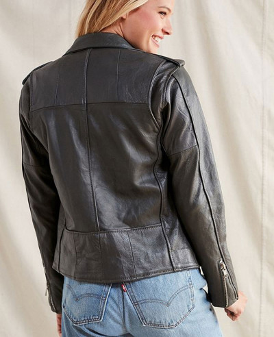 Hot-Selling-Women-Style-Leather-Moto-Biker-Jacket