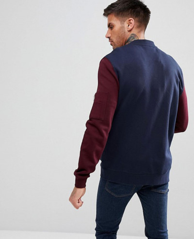 Jersey Bomber Jacket With Contrast Sleeves And Pocket In Navy