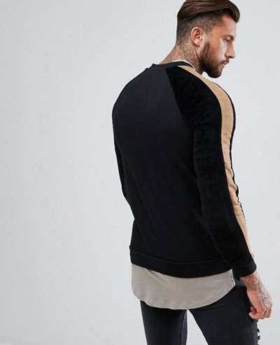 Jersey Bomber Jacket With Faux Suede Stripe