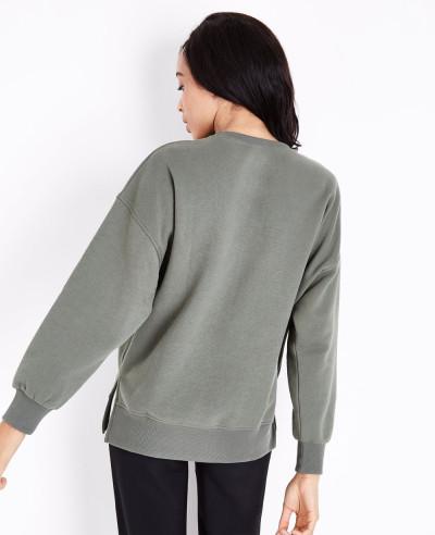 Khaki Slouchy Split Side Sweatshirt
