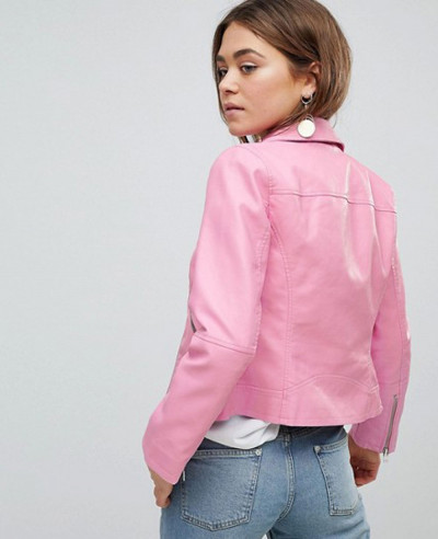 Leather Cropped Biker Jacket