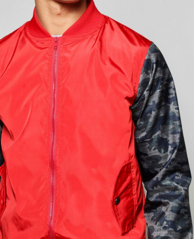 Lined Nylon Bomber Jacket With Camo Sleeves Varsity Jacket