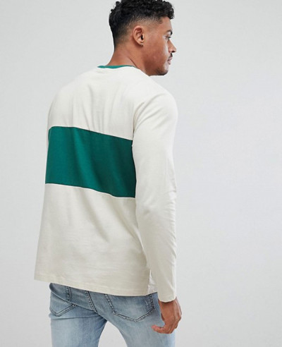 Long Sleeve Crew Neck With Colour Block Stylish Sports T Shirt