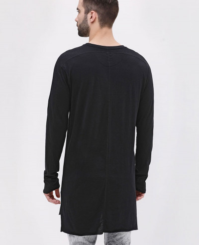 Long Sleeve Longline Soft Jersey Black T Shirt