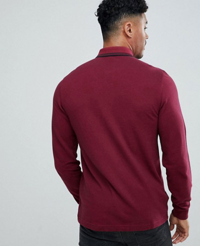 Long Sleeve Slim Fit Twin Tipped Polo Shirt In Burgundy