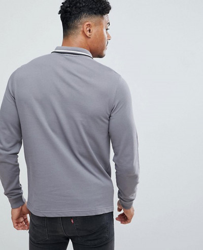 Long Sleeve Slim Fit Twin Tipped Polo Shirt In Grey