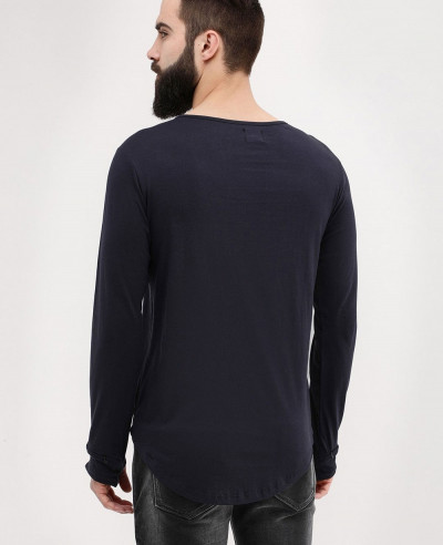 Long Sleeve Square Neck With Thumbhole Detail Black T Shirt