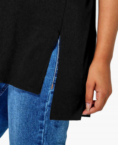 Longline-Fashion-Side-Split-Oversized-Tee-Shirt