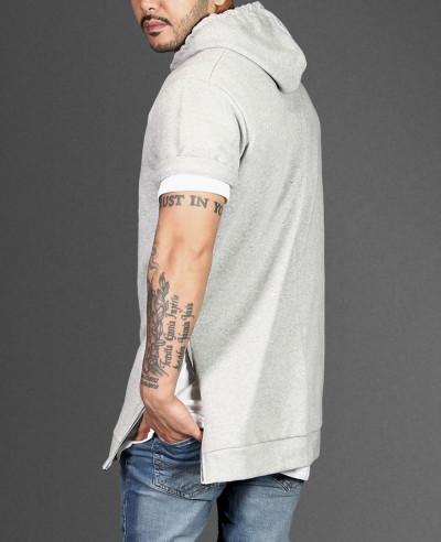 Longline Grey With Side Zipper Men Hoodie